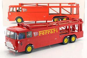 Fiat-Bartoletti-306-2-Renntransporter-Ferrari-JCB-Racing-rot-1-18-Norev