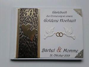 Details Zu Hardcover Gästebuch Goldene Hochzeit Erinnerung Cremegold Geschenk Dina5