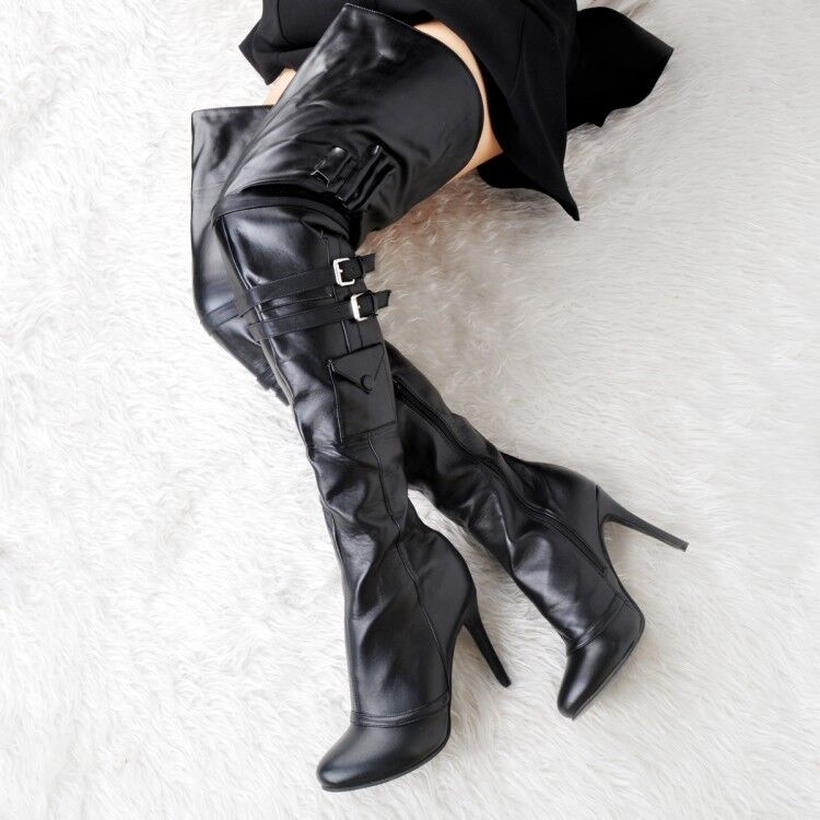 UK Women High Heel Leather Over the Knee Thigh High Boots Pointy Toe Buckle shoes