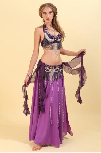 On Sale Purple Professional Beading Belly Dancing Costumes Bra+Belt+Skirt S M L