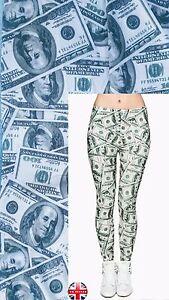 Image Is Loading Soft Matte Fabric Money 100 Dollars Print Leggings