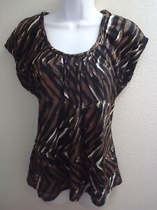 top-blouse-large-l-womens-casual-stretch-black-brown-white-print-short-sleeves