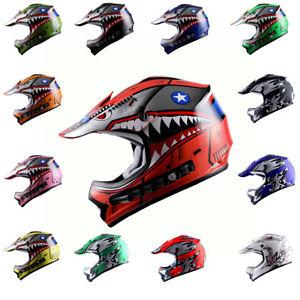 Youth Motocross Helmet ATV MX BMX Bike Kids Shark Star Black Blue Red Pink Green