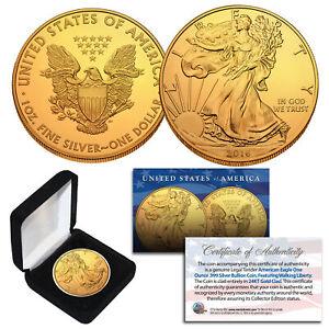 2016-Genuine-1-oz-999-Silver-American-Eagle-U-S-Coin-Full-24KT-Gold-Gilded