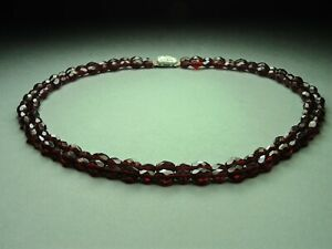 Vintage-Czech-Bohemian-2-Row-Garnet-Cut-Glass-Bead-Necklace