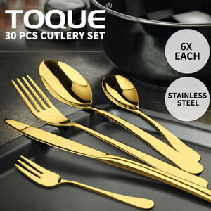 Stainless Steel Cutlery Set Travel Knife Fork Spoon Glossy Gold Tableware 30PCS