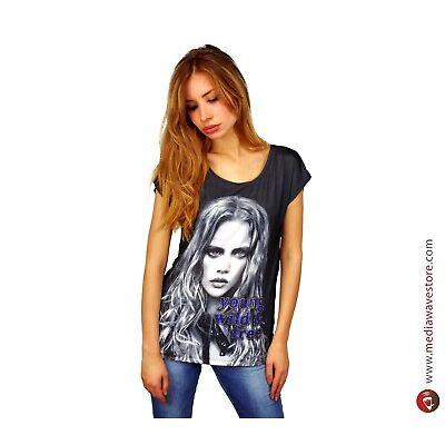 Maglia donna manica corta mod. BLACKY con stampa effetto poster e dettagli brill