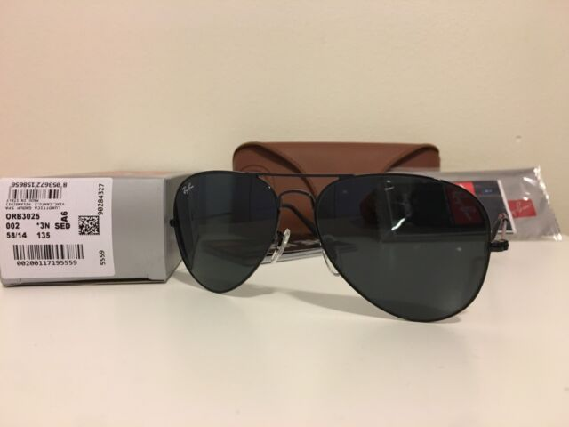 f7546d051aa19 Ray-Ban RB3025 002 58 Aviator Black Frame Black Lenses 58mm Lens Sunglasses