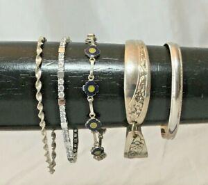 Vtg-Lot-5-Solid-Sterling-Silver-Cuff-Bangle-Link-Bracelet-925-Tennis-Twist-55g