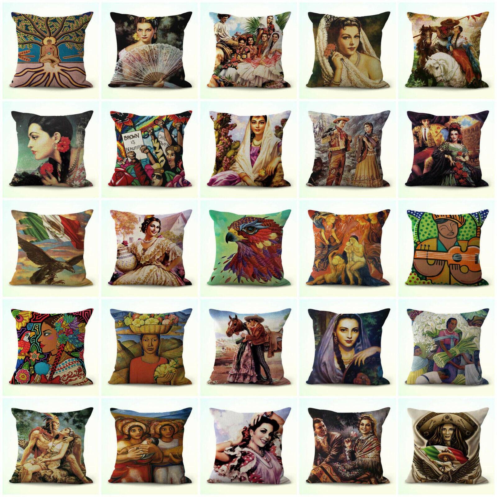 US Vendeur-Lot de 20 canapé jeté Taie d'oreiller hispanique art mexicain housses de coussin
