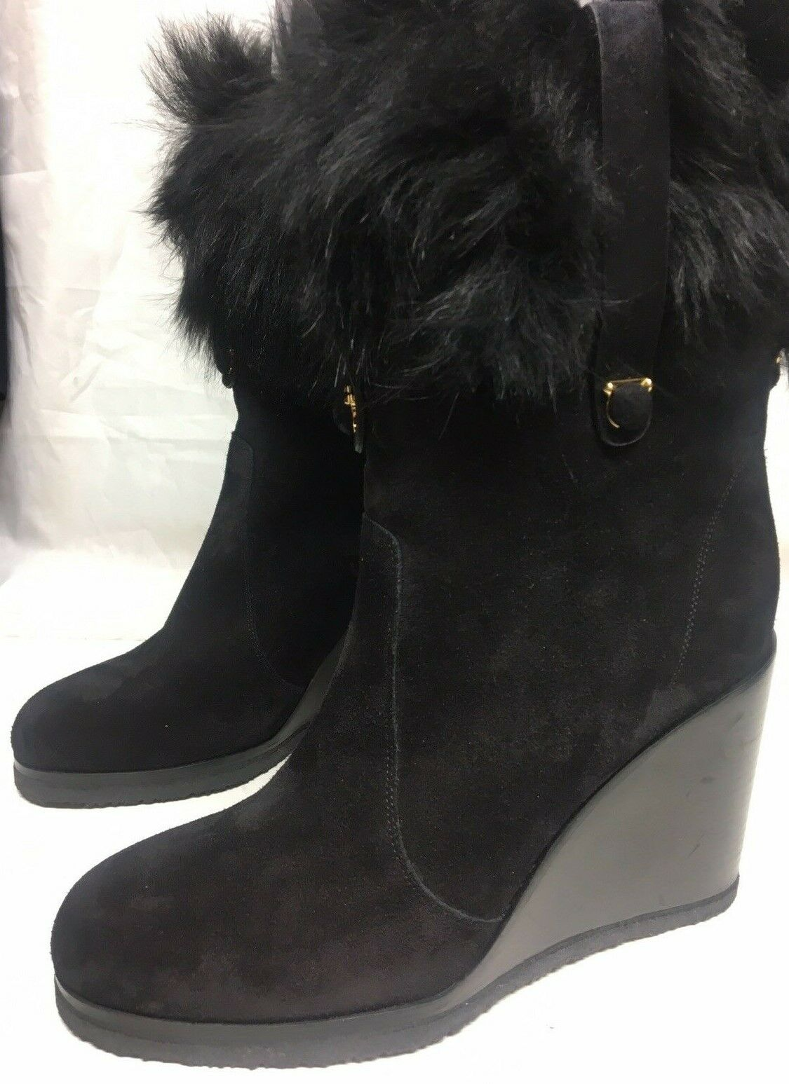 Salvatore Ferragamo Black Suede Fur Wedges 7.5B