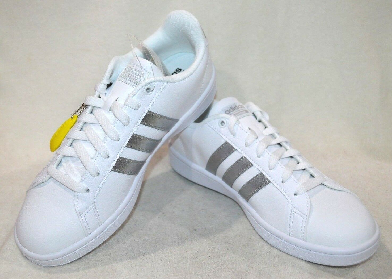 Adidas Femmes Cloudfoam avantage Blanc Argent Baskets-Asst Tailles NWB AQ0528