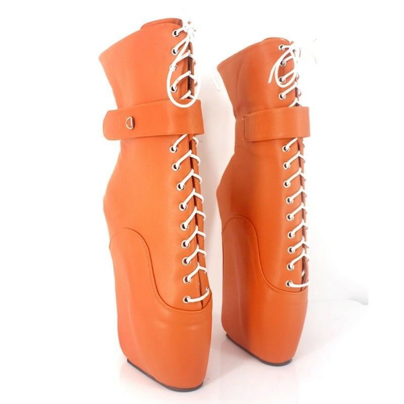 ORANGE LOCKING LEATHER Ankle high High PONY Ballet Boots, high Ankle heals,sexy boot,corset d8d49a