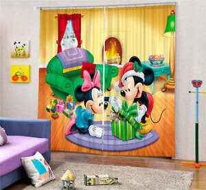 Details about Happy Mickey Mouse 3D Blockout Photo Curtain Print Curtains  Fabric Kids Window