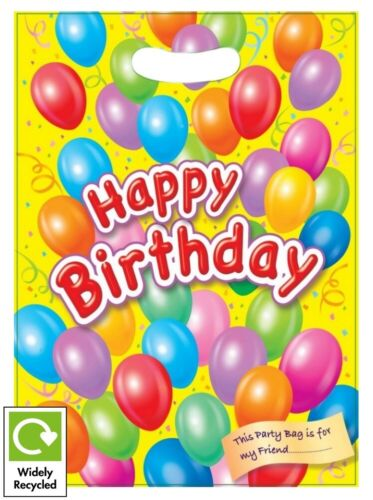 RECYCLABLE LOOT TREAT FAVOUR GOODY GIFT BAG 8 HAPPY BIRTHDAY PARTY BAGS