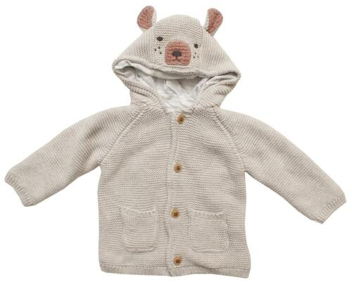 Baby Cardigan Chunky Knit Bear Dog Cat Knitted Hoody Prem Tiny to 12 Months