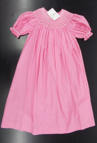 Girls Mom /& Me Pink Hand Smocked Dress Size 4-6X
