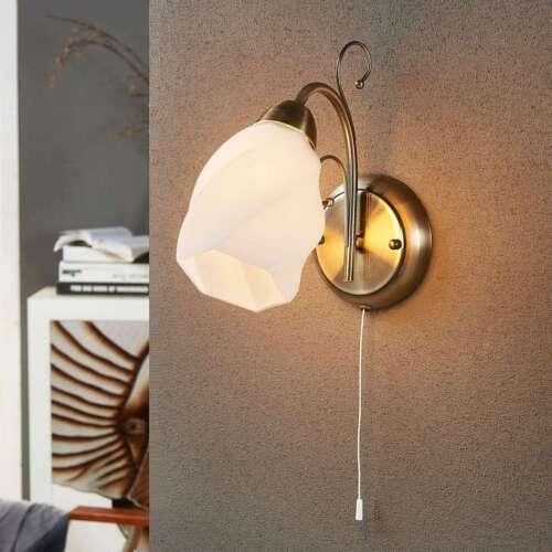 Wandleuchte Amedea Wandlampe Altmessing Lampenwelt Ranken Glas Weiß Klassisch