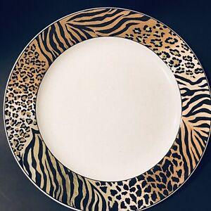 2-Studio-Nova-Jungle-Beat-Dinner-Plates-Leopard-Tiger-amp-Cheetah-EUC