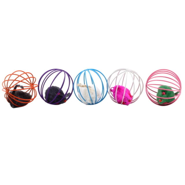 Fun Gift Play Playing Toys False Mouse in Rat Cage Ball For Pet Cat Kitten  KK