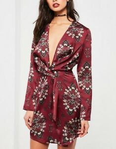Missguided-New-Burgundy-Print-Silky-Wrap-Dress-For-Womens-M17-3