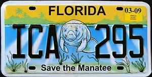 FLORIDA-034-SAVE-THE-MANATEE-WILDLIFE-ICA-295-034-FL-Specialty-License-Plate