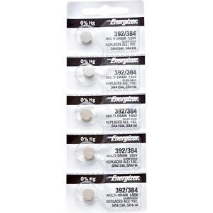 5 x Energizer 392 Watch Batteries, 0% MERCURY equivilate SR41SW or 384