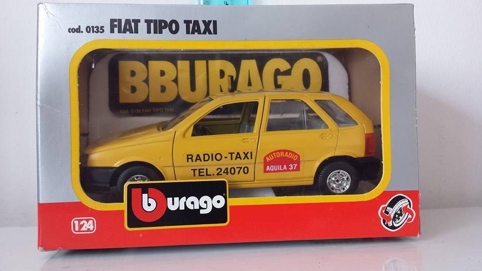 BBURAGO BURAGO FIAT TYPE yellow RADIO TAXI ART. 0135 1 24 VINTAGE MADE IN ITALY