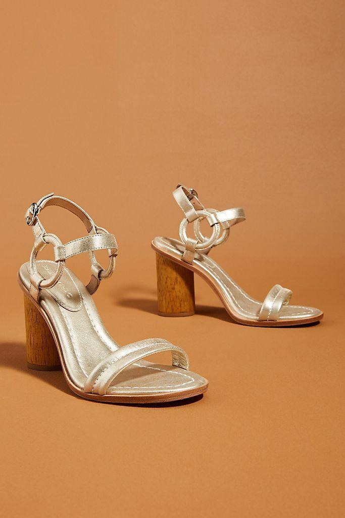 Anthropologie Bernardo Gold Harlow Heels Size 10