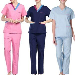 88c91030cdc Latest Women's Scrub Set Hospital Doctor Nurse V-Neck Tops Pants ...