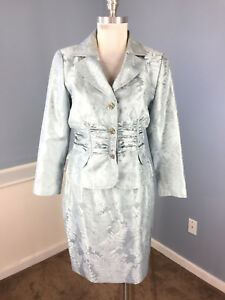 50307f9c92f Kay Unger 12 silk Blue Gray Jacquard Floral Skirt Suit Formal Mother ...