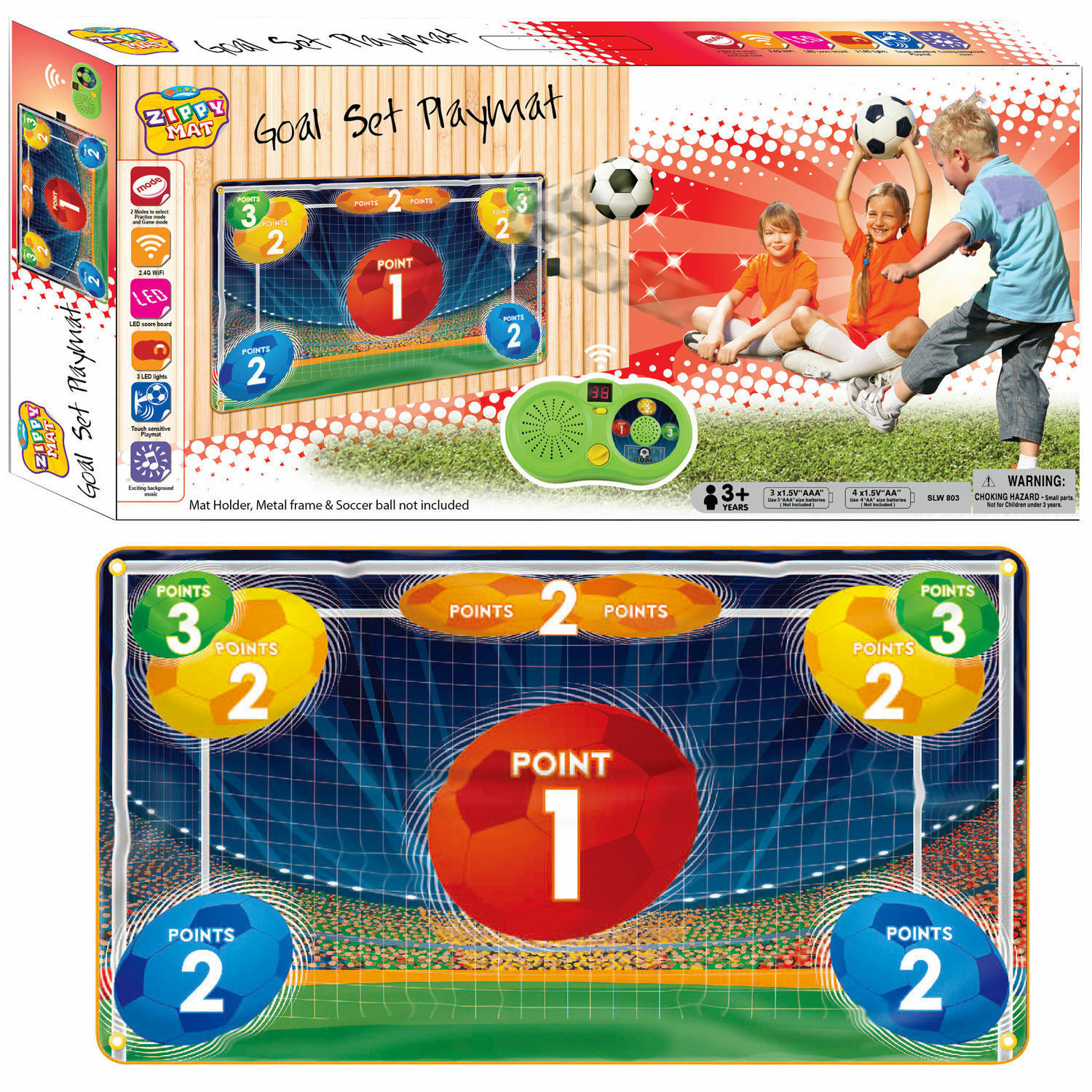 Electronic Kids Soccer Goal Set Musical Play mat w LED Score Board Fun Game Toy