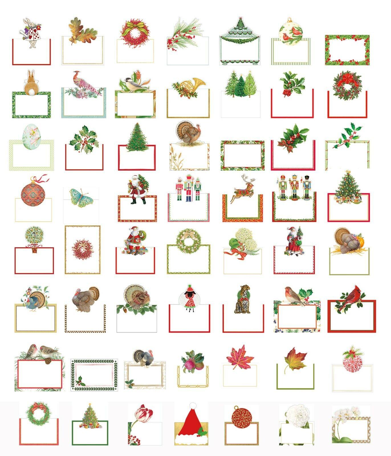 Caspari Mesa Troquelada tarjetas de lugar en envases de 8, Navidad Pascua Y Floral