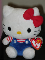 Ty Beanie Baby Hello Kitty (blue Overalls) Mint With Mint Tags In Hand