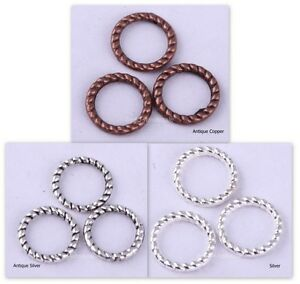 60Pcs-Tibetan-Silver-Twist-Ring-Charm-Link-Rings-Finding-For-diy-8mm