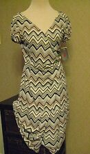 Wrap Dress Women's Size 6 Chevron  Cap Sleeves Adrianna Papell NEW With Tags