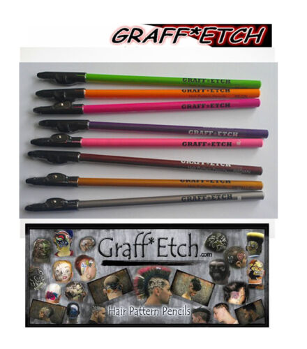 GraffEtch Hair Pattern Pencils NEON 8 pack