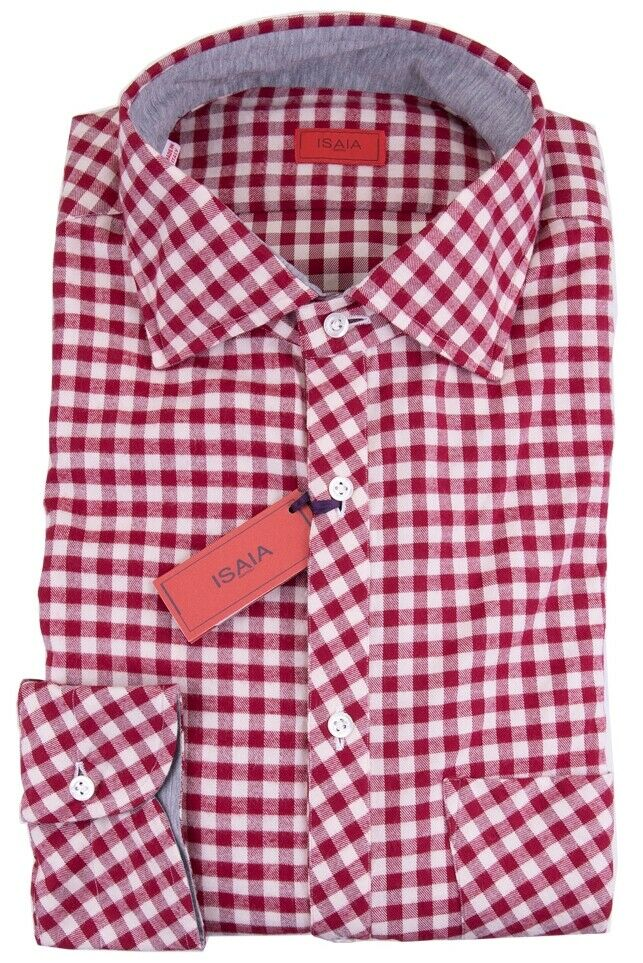 NWT ISAIA dress hemd burgundy vichy luxury handmade  42 16 1 2 SLIM
