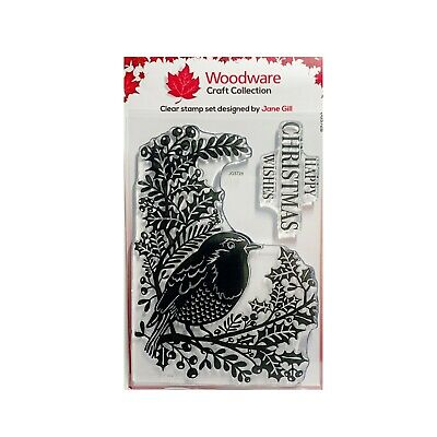Robin and Holly Cling Clear Stamp with words by Woodware Stamps Christmas,Winter for stamping,embossing,card making /& Scrapbooking