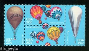 Ballons-a-air-chaud-MNH-se-tenant-bloc-de-4-TIMBRES-USA-1983-2032-5