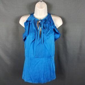 Diane-Von-Furstenberg-Women-039-s-Size-2-Shiny-Electric-Blue-Berit-Silk-Blouse-Top