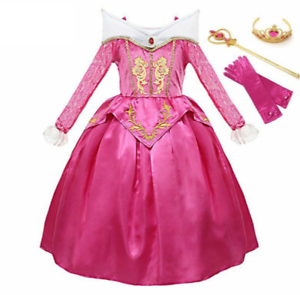 Girls-Aurora-Dress-Sleeping-Beauty-Princess-Costume-Cosplay-Party-Fancy-Dresses