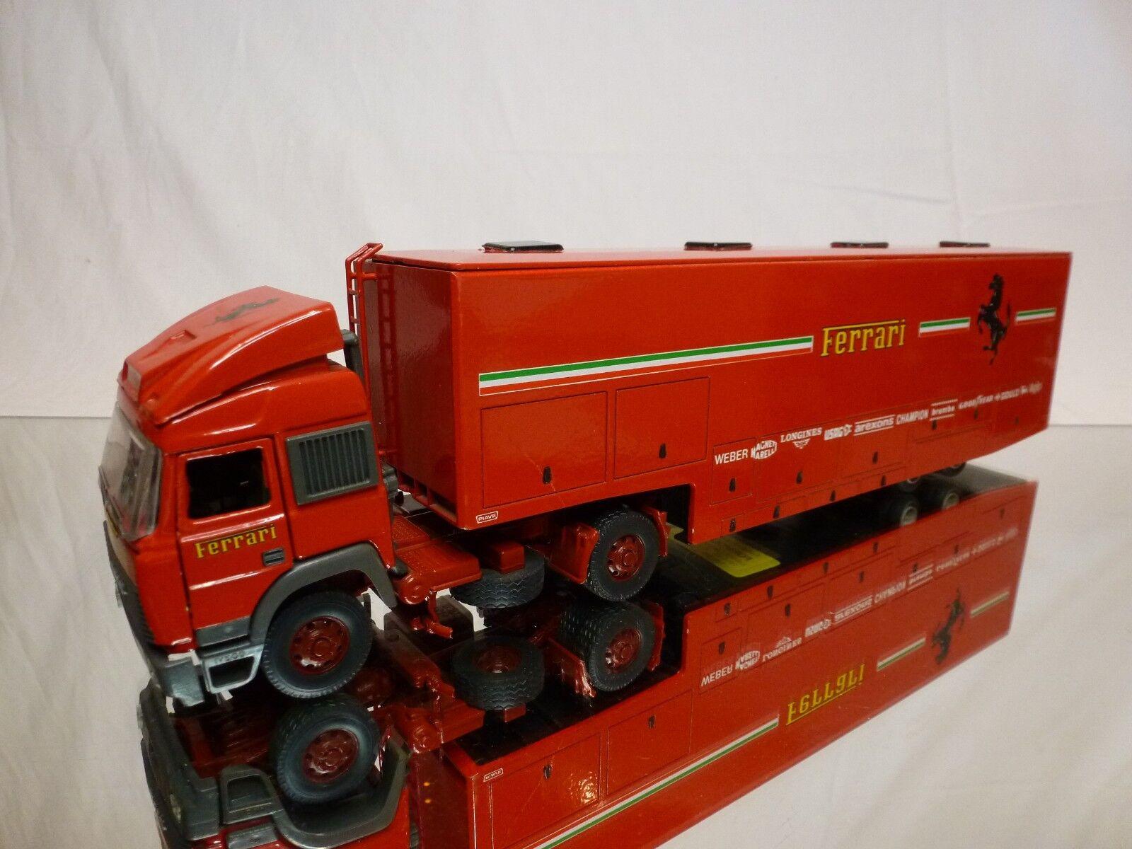 OLD CARS IVECO TURBOSTAR - CAR TRANSPORTER FERRARI F1 rosso 1 43 - GOOD CONDITION