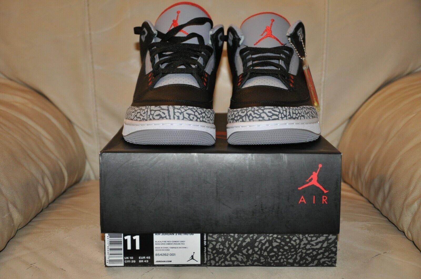outlet store a876b 03d0e Nike Air Jordan 3 Retro Black Cement BC Size 11