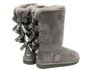 e5a37304a91 Details about UGG Australia Kids Bailey Bow Triplet Triple Tall Boot  1007309K Grey Girls