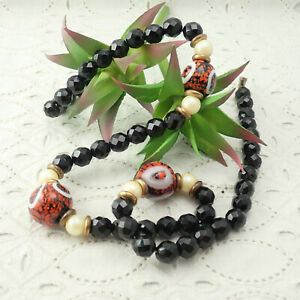 Vintage-Black-Faceted-Crystal-Faux-Pearl-Orange-Murano-Art-Glass-26-034-Necklace