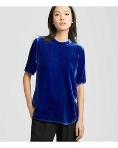 Eileen-Fisher-Womens-Small-Petite-Mock-Neck-Velvet-Top-Crushed-Blue-short-sleeve