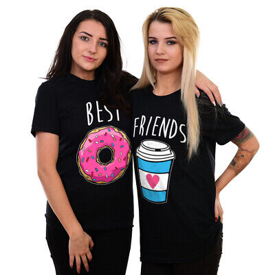 Best Friends Matching T Shirts Tops Teen Donut Coffee Funny Graphic Girls Bf09 Ebay