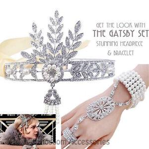 K136-Great-Gatsby-20s-Headpiece-Bracelet-Ring-Flapper-Crystals-Costume-Headband
