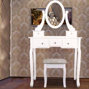 Chambre-Coiffeuse-Table-De-Maquillage-Avec-Tabouret-Tiroir-Miroir-Et-Pivotant